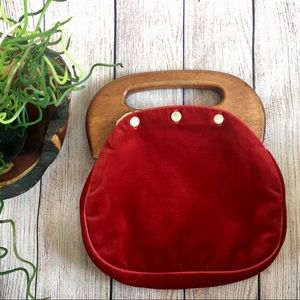 Vintage Pappagallo Red Velvet Wood Handle Purse